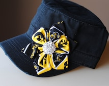 Womens University of Iowa Hawkeyes Hats, Shabby Chic Six Petal Distressed Military Cadet flower Cap Bling Trucker or Baseball Hat