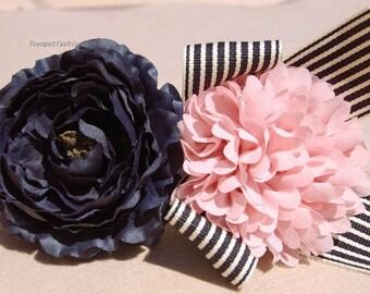 Modern dog collar,wedding dog collar.Birthday Party dog collar.Beautiful pink and black Navy flower collar for dog. handmade girl dog collar