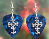 Fancy Cross Earrings, Christian Faith Guitar Pick Jewelry, Choice of 12 Colors, Crucifix Pierced or Clip On Earrings, Easter Fleur de Lis