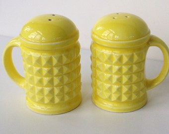 Lemon yellow salt pepper shakers mini