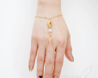 Floral Eyelet Connector, Frosted Round Jade, Ball Chain 16k Gold OR Rhodium, Hand Bracelet, Slave Bracelet