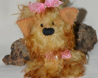Daisy - Artisan mohair Yorkshire Terrier collector bear