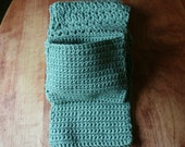 Pocket Scarf   Long Scarf  Thick Neck Warmer in a Light Sage Green  Scarf With Deep Pockets  Crochet Pocket Scarf