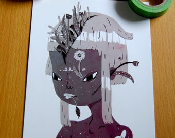 Plant girl print