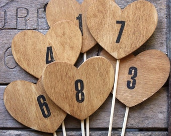 1 wood heart table numbers on a stick . table number wedding centerpieces . heart table numbers .  woodland wedding numbers