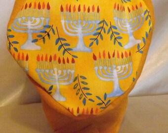 303 Golden Hanukkah Two Toned 100% Linen and NonGMO Cotton Head Covering Snood Cap