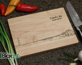 Washington D.C. Skyline Personalized Engraved Cutting Board | Best Cutting Board, Wedding Gift, District of Columbia, Unique Gift Ideas