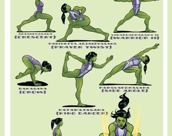 She-Hulk Yoga Poses Poster 18X24