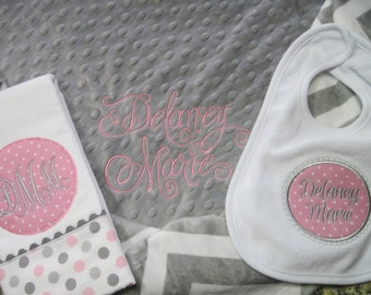 Super Shower Gift - Personalized Minky Blanket, Burp Cloth and Bib