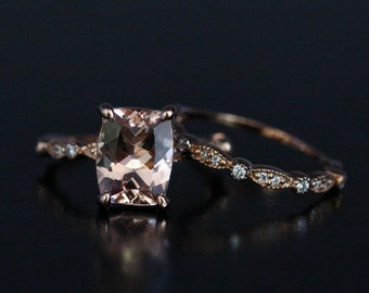 Rose Gold Morganite Ring Morganite Engagement Ring Pink Morganite Cushion 10x8mm and Diamond Wedding Ring Bridal Set