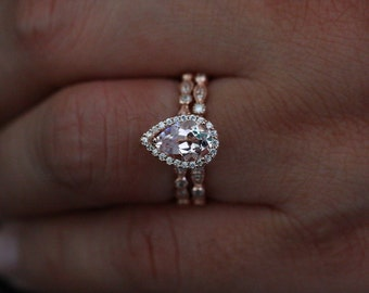 Rose Gold Morganite Engagement Ring and Wedding Band set with Pear Morganite 9x6mm and Diamond Halo and Matching Wedding Band