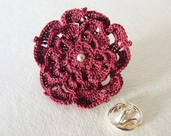 Crochet Lace Flower Brooch Pin in Dark Red