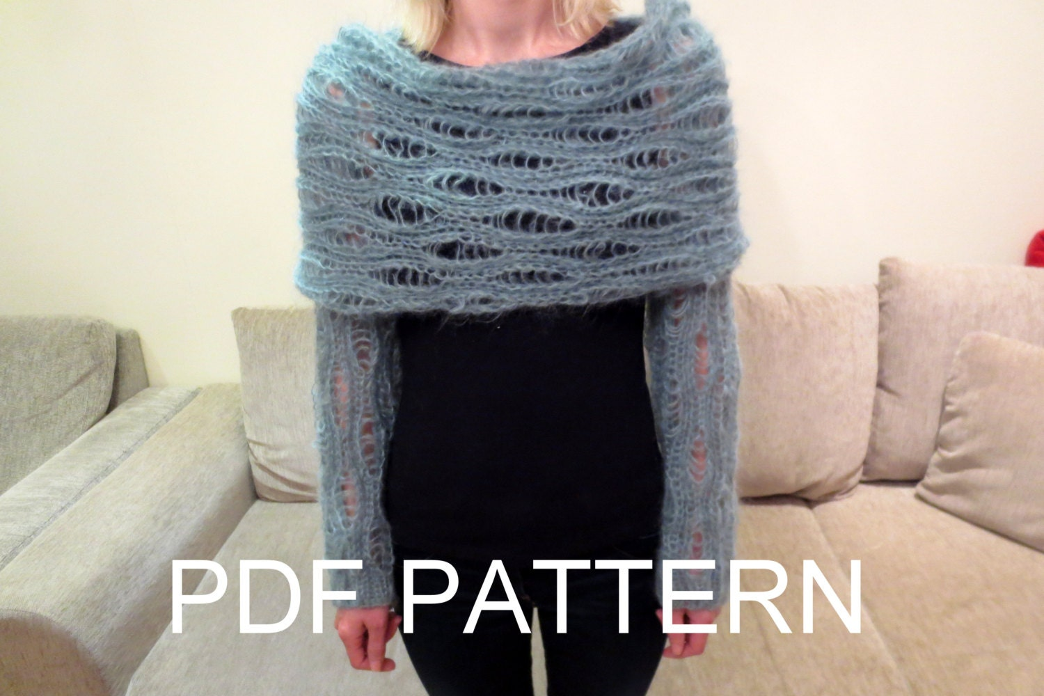 Knitting Pattern Scarf With Sleeves : PDF KNITTING PATTERN for long sleeves lace scarf sweater