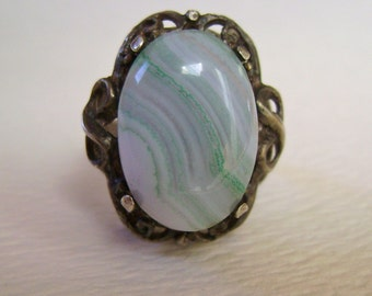 amazing antique agate ring in sterling, size 6
