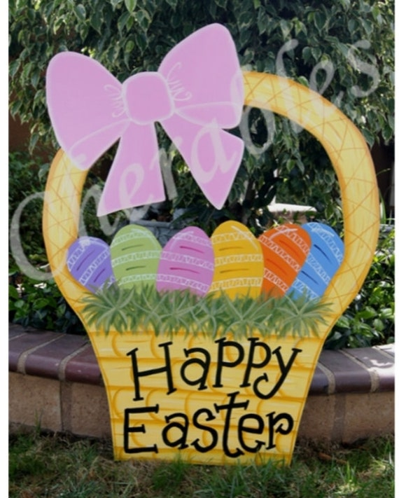 Outdoor Spring Decor: Easter Basket 3' Yard Art Easter Outdoor Wood Decoration