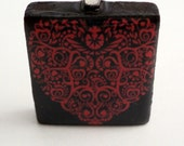 Red Celtic Heart Pendant, Red heart on black necklace, heart necklace, red heart pendant, heart jewelry