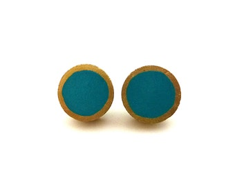 Dark turquoise and gold stud earrings, wood post earrings, colorblock earrings, teal earrings