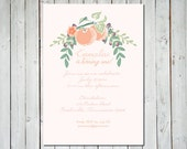 Customizable Little Peach Birthday Party or Baby Shower Invitation