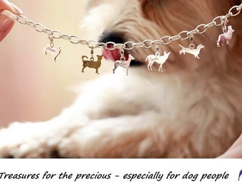 Beautiful custom bracelet with doggie charms to you're choice silver 925 or gold platted / only charm