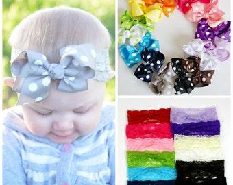 Baby Hair Bow Lace Headband.Lace Bow Headband.Bow Headband.Baby Hair Bows.Baby Girl Headband.Baby Lace Headband.You Pick Lace Headband