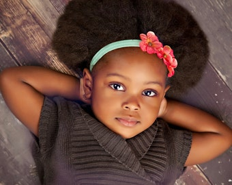 Coral and Aqua Headband.Newborn Headband.Baby Headband.Newborn Baby Headband.Infant Headband.Flower Headband.Coral Headband.Aqua Headband