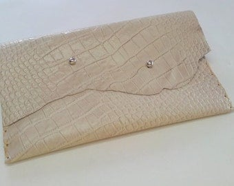 Bone Crocodile Clutch, White Clutch Crocodile, Bone Croco Envelope