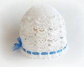 White Baby Hat. Newborn Hat.  Crochet Hat. Crocheted Christening Hat. Baby Toddler Accessories