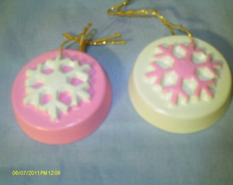 Snowflake Ornaments (Pink) - Set of 2