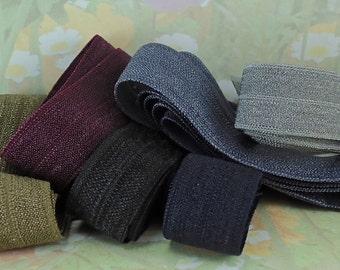 Fold over Elastic Ribbon Multi Sets 2 ft each of 6 colors foe Elastic by the yard  Dark Colors blue purple black green grey gray