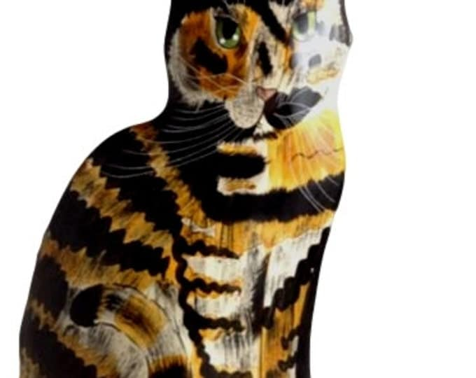 Cats by Nina Lyman Large Calico Kitty Cat Ceramic Vase Signed
