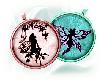 Fairies silhouettes - 1 inch rounds graphics for scrapbooking, stickers, Digital Printable 15 Bottle Cap Images File 4x6, BUY 2 GET 1 FREE