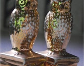 """OWL GOLD salt and pepper shakers, vintage set, collectible antiques, ceramic 3""""inch shaker set"""
