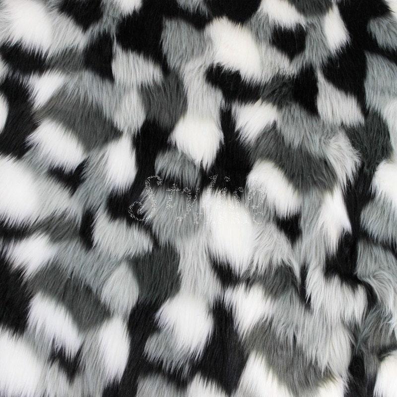 spots faux fur fabric white gray black 1 yard style 5034. Black Bedroom Furniture Sets. Home Design Ideas