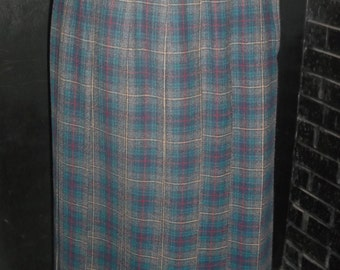 """75% OFF!!! Vintage Talbot's Plaid Blue and Gray Tone Pleated Skirt, Wool Made in USA Size 4, 27"""" waist,S"""