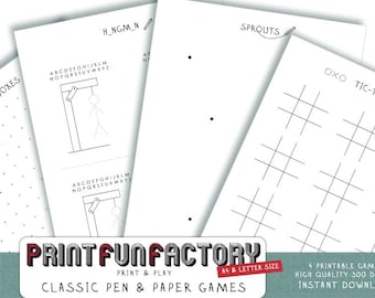Printable pen & paper games - 4 classic pen and paper games INSTANT DOWNLOAD