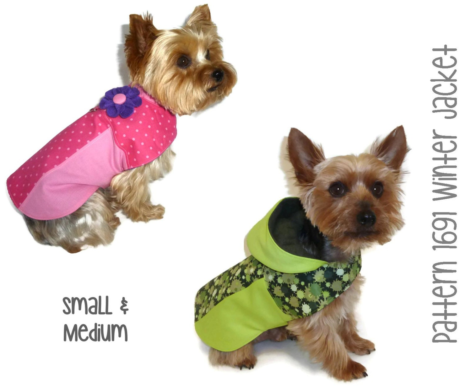 dog coat template - winter dog jacket pattern 1691 small medium by