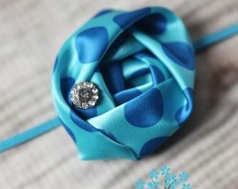Blue Polka Dot Rosette Headband, Girls Headband, Skinny Band, Rolled Rosette, Prop, Special Occasion