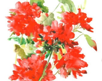 Red Geranium Painting, 12 X 9 in, original watercolor red green min imalist floral wall art