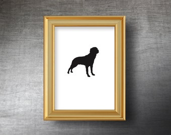 Rottweiler Wall Art 5x7 - UNFRAMED Hand Cut Rottweiler Silhouette Portrait - Personalized Name or Text Optional