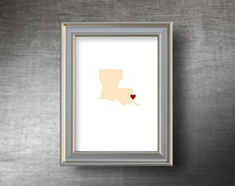 Louisiana Map Art 5x7 - 4 Color Choices -  UNFRAMED Hand Cut Silhouette - Louisiana Print - Personalized Name or Text Optional