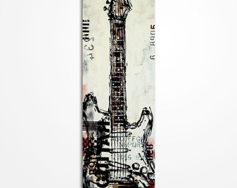 Guitar painting, Guitar art, Music painting, Gift for musician, Original red, black and white guitar painting on  canvas - MADE TO ORDER
