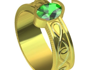 Gold Celtic Wedding Ring With Emerald and Infinity Symbol Design in 10K 14K 18K or Palladium, Made in Your Size Cr-312