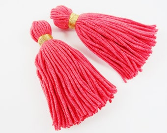 Long Light Coral Red Handmade Wool Thread Tassels -  3 inches - 75mm  - 2 pc