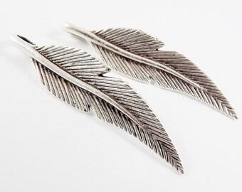 2 Feather Pendants - Matte Antique Silver Plated