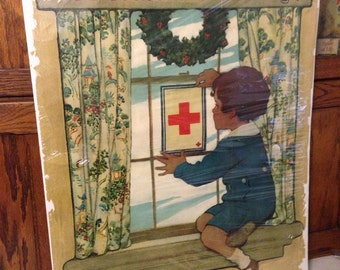 Vintage WWI Red Cross Advertising Poster, Jessie Wilcox Smith