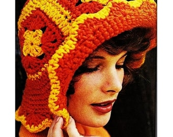 Vintage Crochet Pattern - Floppy Sunhat - Granny Squares Hat Pattern - PDF Instant Download - Brimmed Cap - Beach Hat - Digital Pattern