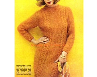 KNITTING PATTERN - Cable Sweater Dress Wooly Dress Vintage pattern - PDF Instant Download - Mini Dress - Cable Shift Dress - Winter Pattern