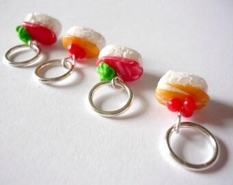 Sushi knitting stitch markers, knitting markers, snagfree knitting, polymer clay stitch markers, miniature food - UK seller