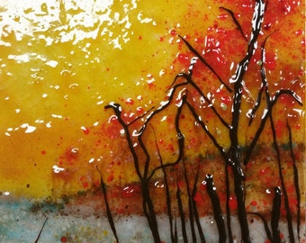 Fused glass art, living at the lake, stained glass , wall hanging, frit painting, lake art