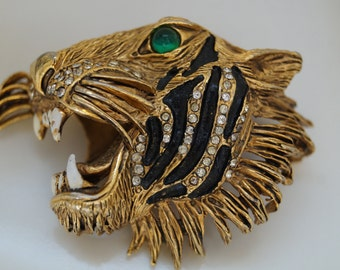 Hattie Carnegie Tiger Head Brooch(Reduced)